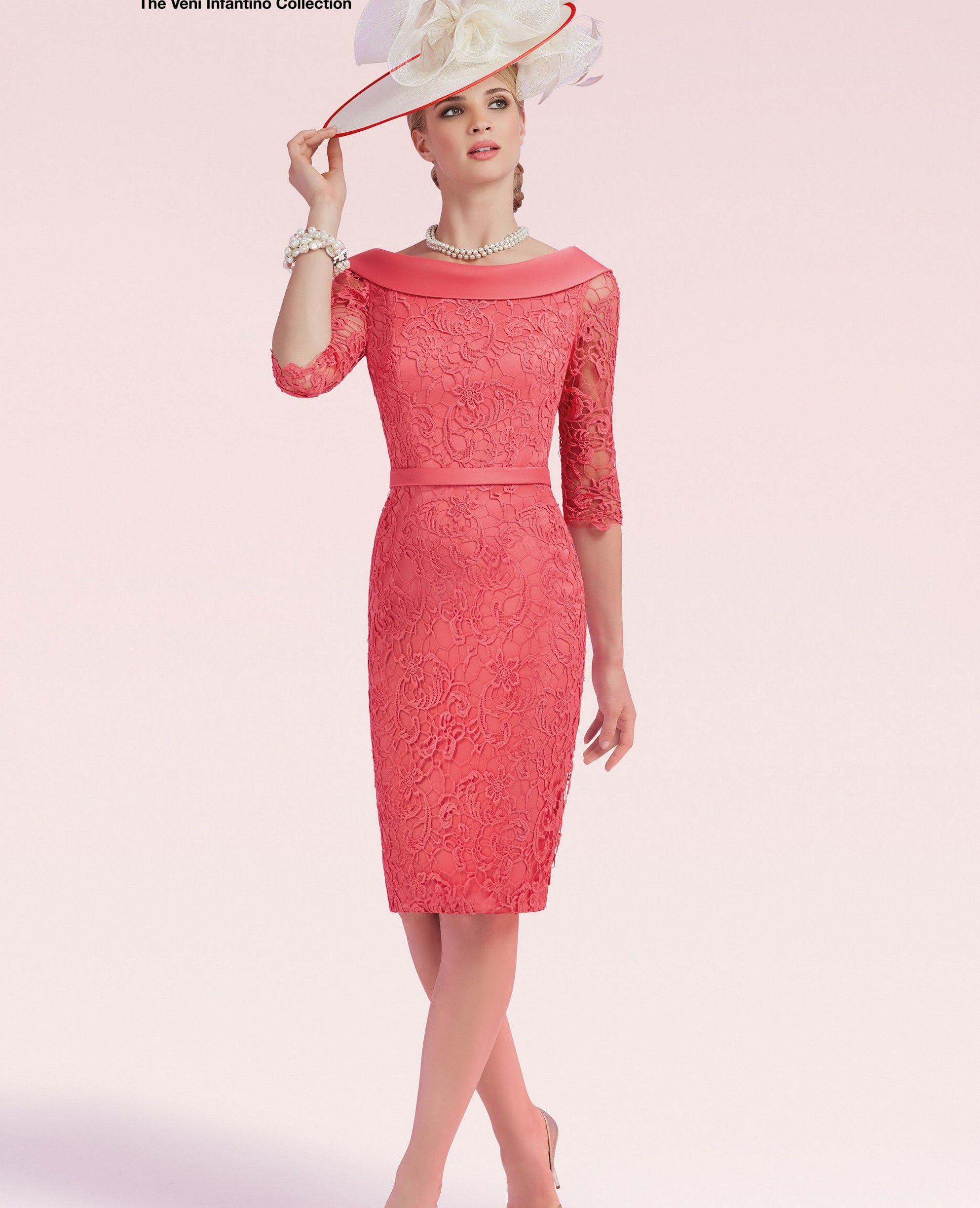 d7022489ba4a Veni Infantino 991247 Colour Coral, price £546. A classic looking slim fit lace  dress with ¾ length sleeves, bateau neckline, low back and satin waistband.