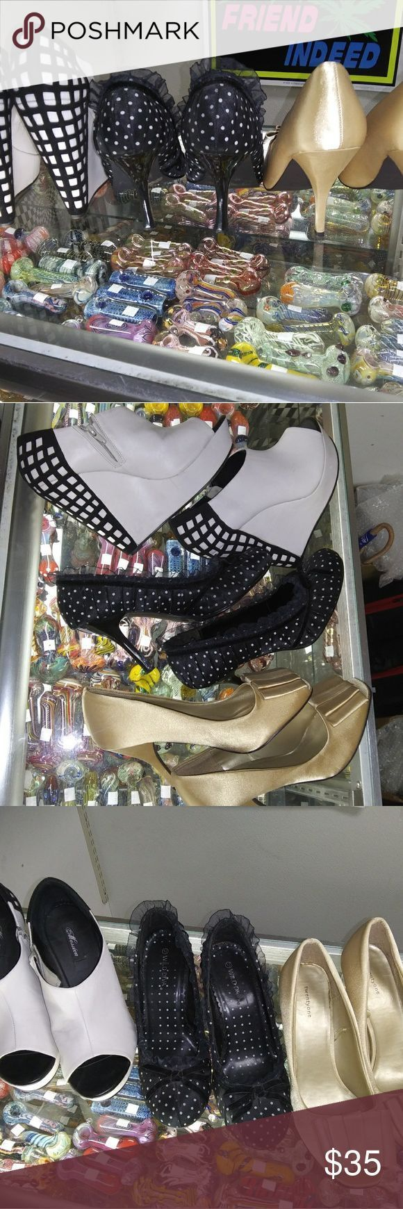 """Photo of Lot of 3 Shoes All size 10. 1.Gold satin,Peep-toe,Origami bow,3″ heel """"FOREVER 2…,  #1Gold …"""