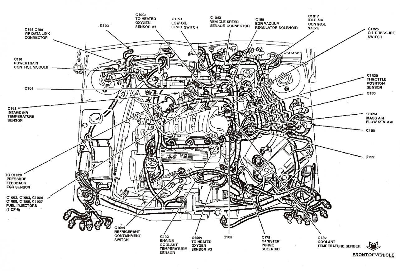 labeled diagram for a 2001 for taurus motor and engine