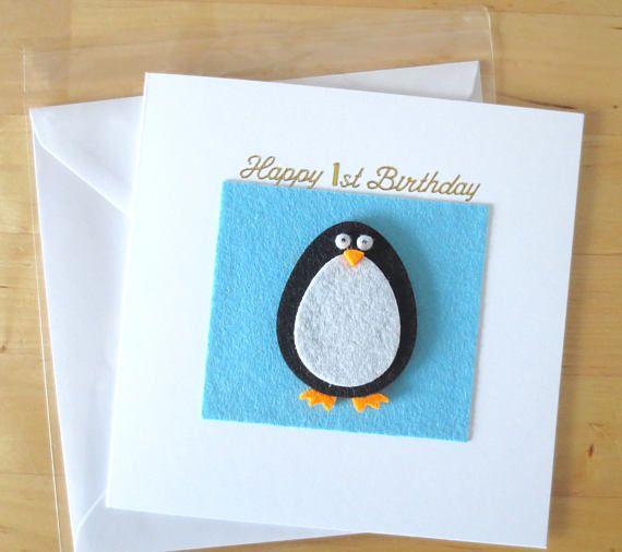 Penguin Christmas Card Gift Penguin First 1st Christmas Card Etsy Cool Birthday Cards 1st Birthday Cards Handmade Birthday Cards