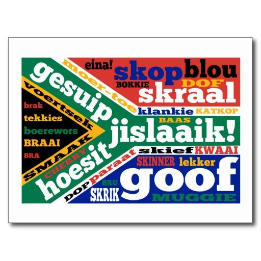 South African Slang And Colloquialisms Postcards A Host Of South African Slang Words And Colloquialisms Disp Slang Words South African Flag South Africa Gift