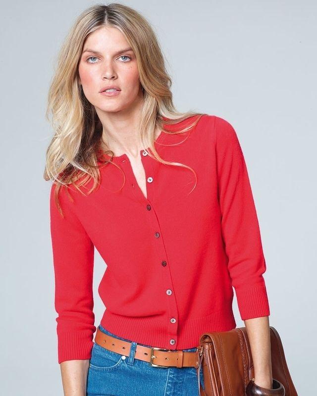 Cashmere Three-Quarter Sleeve Cardigan