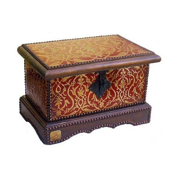 arca alhamar hecho a mano en cuero repujado con madera