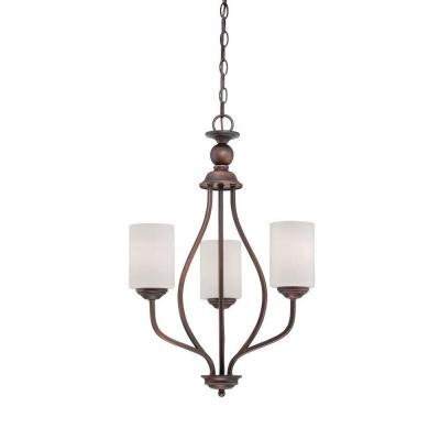 Millennium Lighting 3 Light Rubbed Bronze Chandelier With Etched White Glass 3053 Rbz The Home Depot Millennium Lighting Bronze Chandelier 3 Light Chandelier