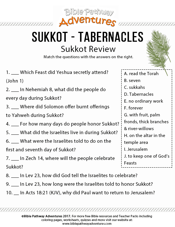 Enjoy Our Free Bible Worksheet Sukkot Review Fun For Kids To Print And Learn
