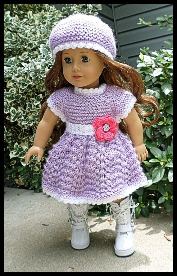 American Girl Doll Clothes Hand Knitted Crocheted dress and hat by AUSSIEKNITWIT, $22.00