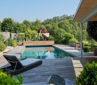 Livingpool Mit Holzdeck Und Liegeflache Naturpool Pool Livingpool Gartengestaltung Inspiration Holzdeck Haas Ausfreudeam Natur Pool Pool Pool Im Garten