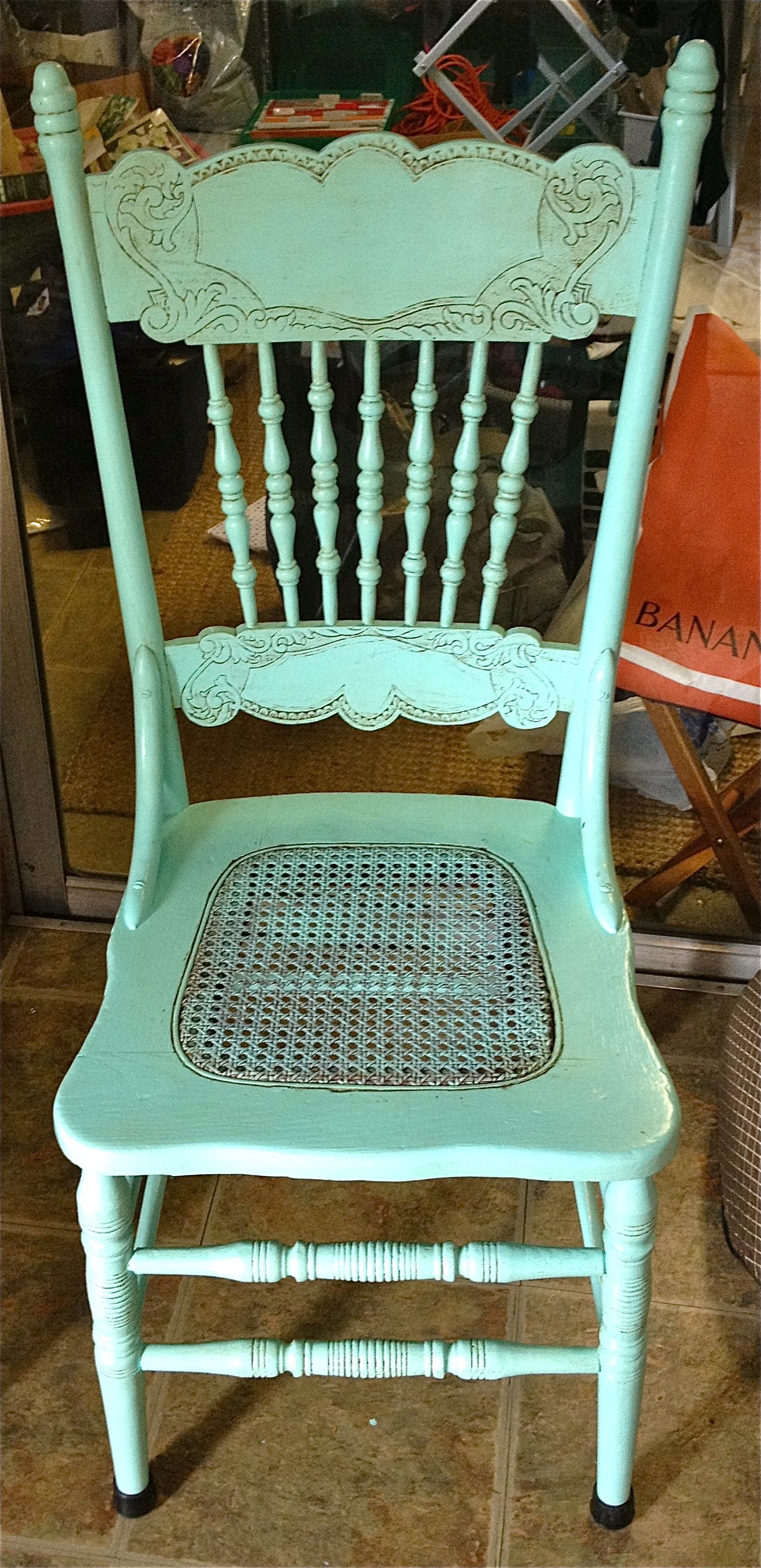 This is one of the antique press back chairs I painted to use in the dining - This Is One Of The Antique Press Back Chairs I Painted To Use In The