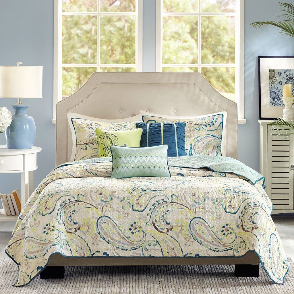 King Size Paisley 6 Piece Quilt Coverlet Set Navy Yellow White, Matching  Pillows   Quality