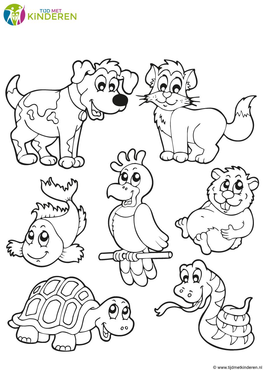 Kleurplaten Over Huisdieren.Pin Van Par 1 Op Thema Huisdieren Dieren Kleurplaten En