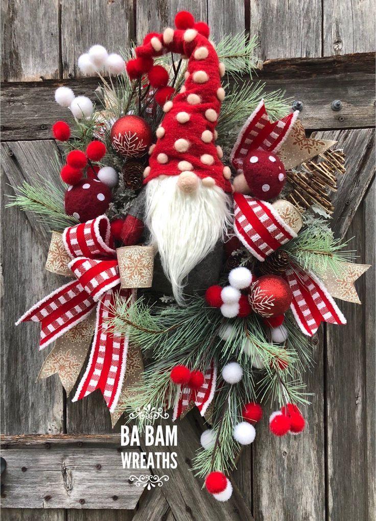 Ba Bam Wreaths Gnome Wreath Christmas Gnome Wreath Winter Wreath Gnome Deco  Ba Bam Wreaths Gnome Wreath Christmas Gnome Wreath Winter Wreath Gnome Deco