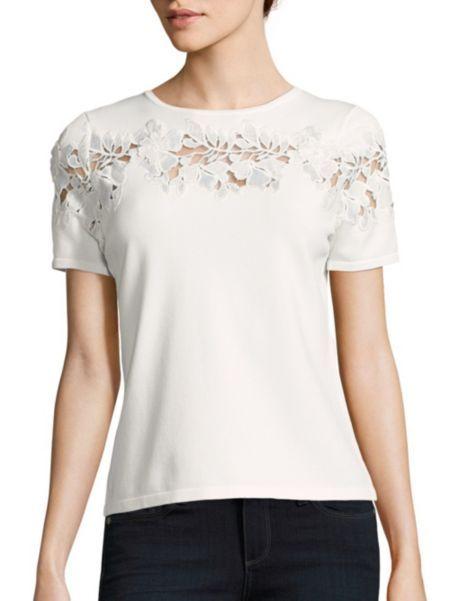 2dce138f4c2a Elie Tahari - Winnie Floral Cutout Sweater | tops | Pinterest | Elie ...