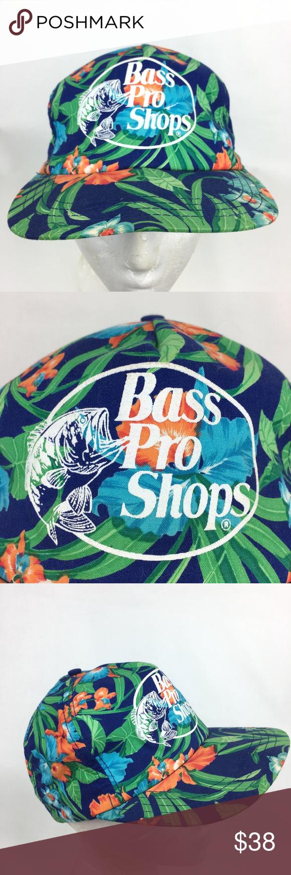 90s Bass Pro Shops Hawaiian Floral Tropical Hat Hats Vintage Clothes Design Vintage Hawaiian