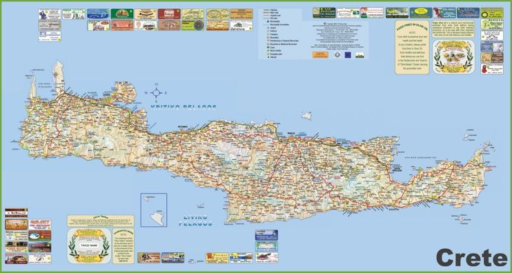 Crete tourist map Maps Pinterest Tourist map Crete and Greece