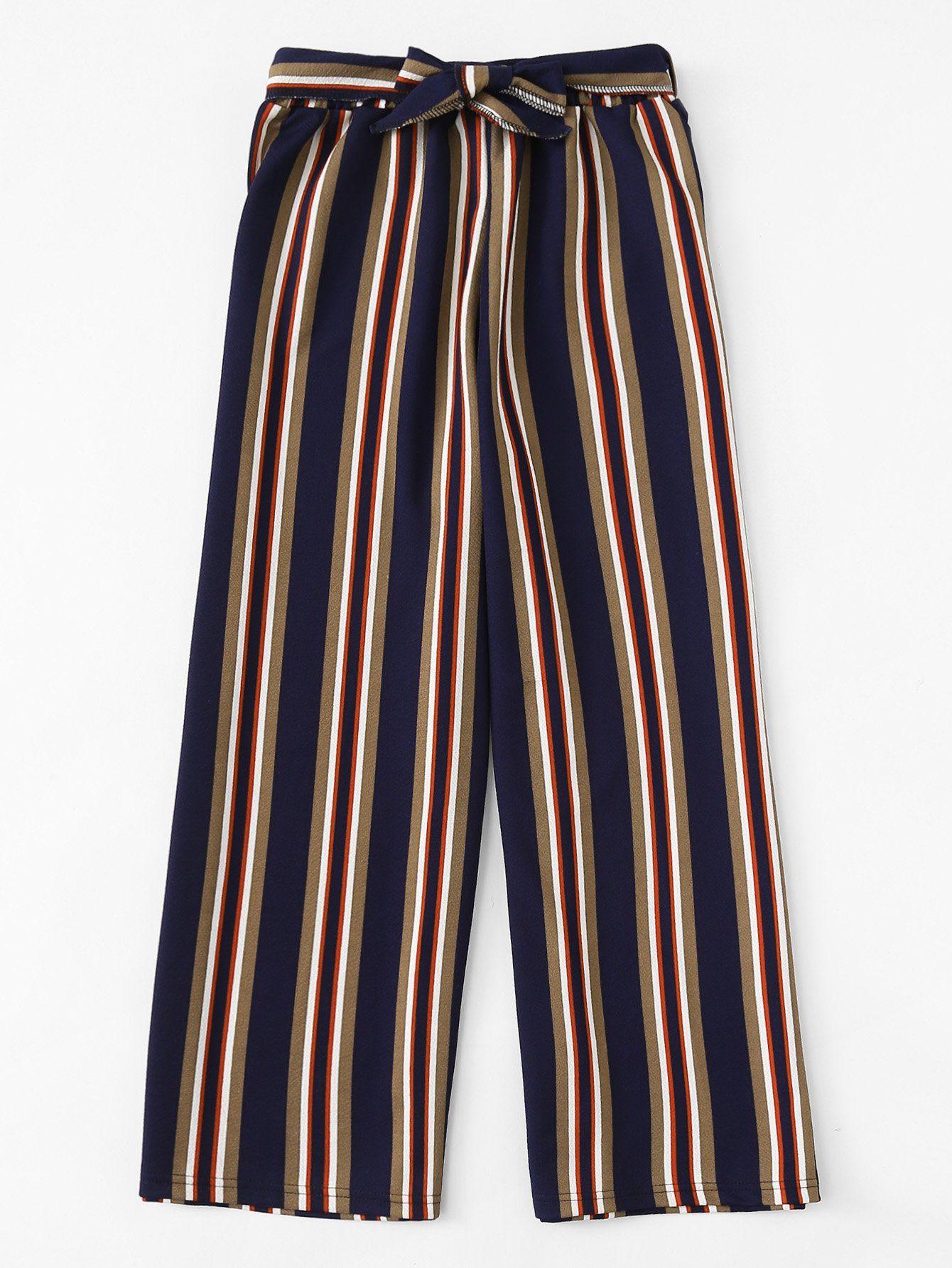 Romwe Pantalones Anchos De Rayas Block Con Diseno De Cordon Pantalones De Moda Ropa Pantalones