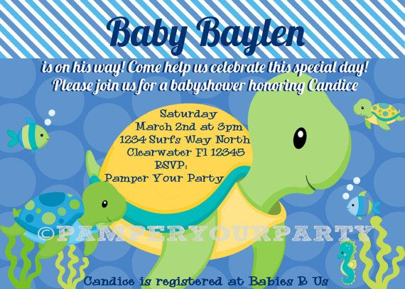 Turtle Invitation Turtle Baby Shower Invite By Pamperyourparty