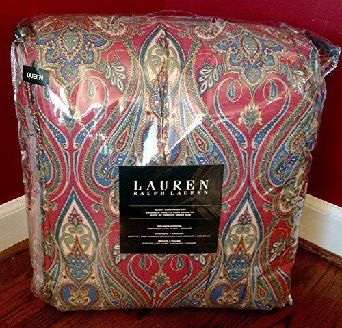 400 Ralph Lauren Naomi Paisley Red Blue Queen 4 Piece