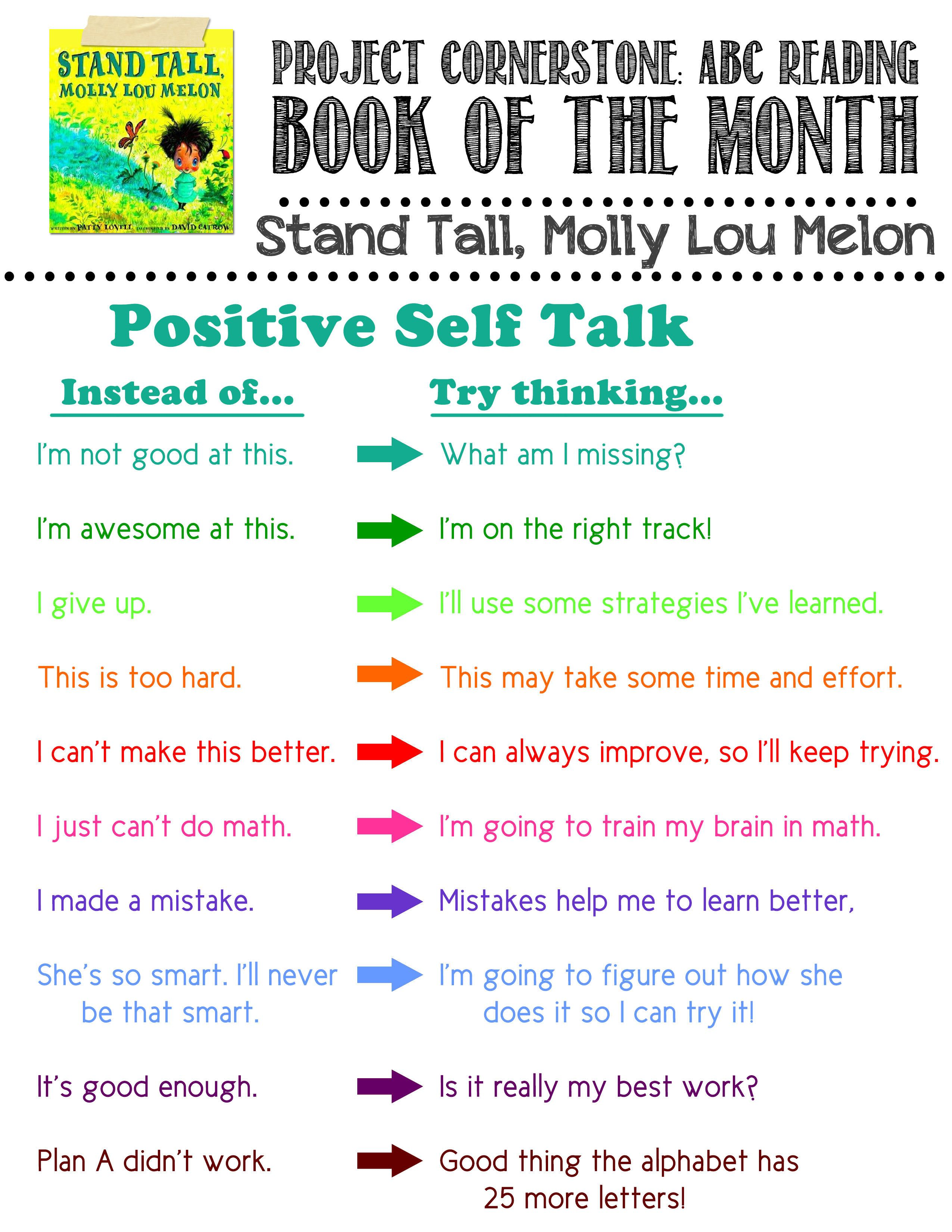 positve self talk flyer to go with stand tall molly lou melon