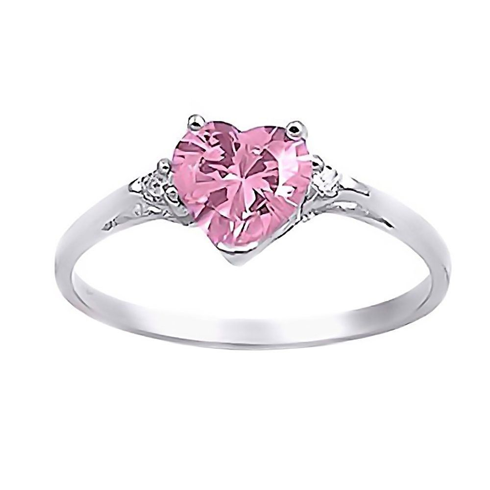 Patsy 0 81ct Heart Cut Pink Sapphire Ice CZ Promise Friendship Ring