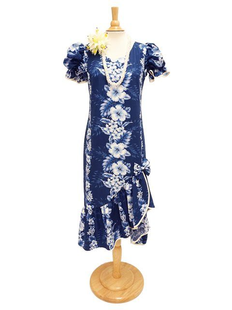 Two Palms Pacific Panel Navy Cotton Hawaiian Long Muumuu Dress