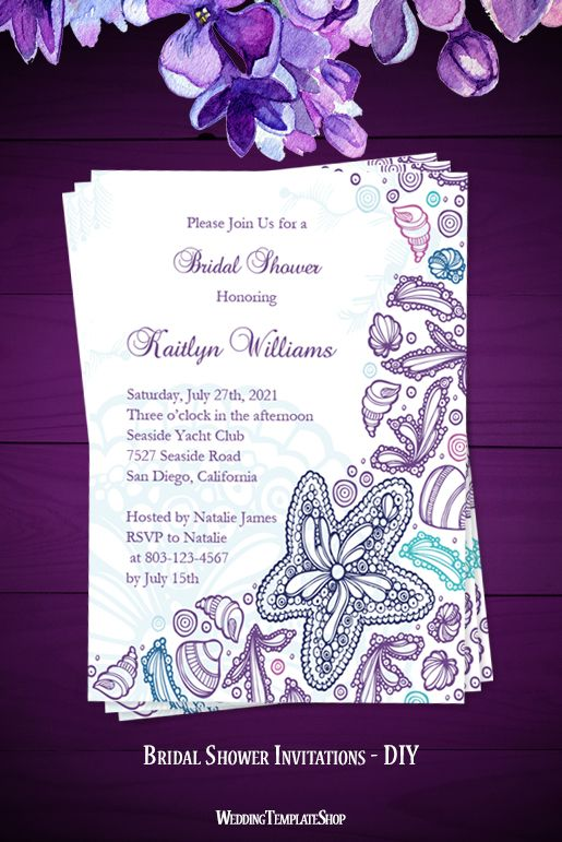 Printable Bridal Shower Invitations Beach Theme Purple Blue - Beach theme bridal shower invitation template