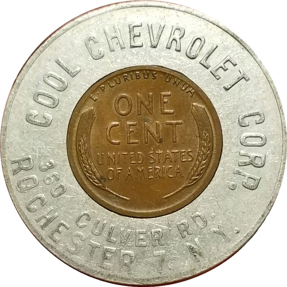Vtg. Chevy Car Dealer 1948 Encased Cent Token COOL