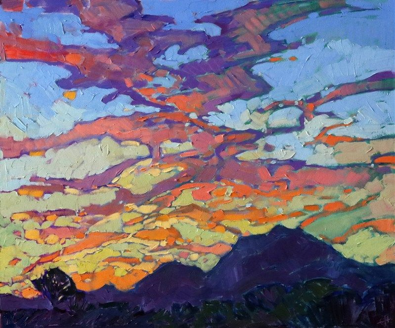 Small Oil Painting Of A Colorful Dramatic Sky In The Style Of Modern Impressionism Modern Impressionism Sky Painting Landscape Paintings