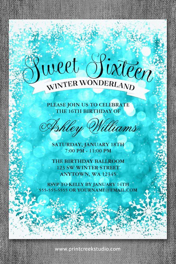 Sweet 16 Winter Wonderland Glitter Lights Invitations InvitationsBirthday Party