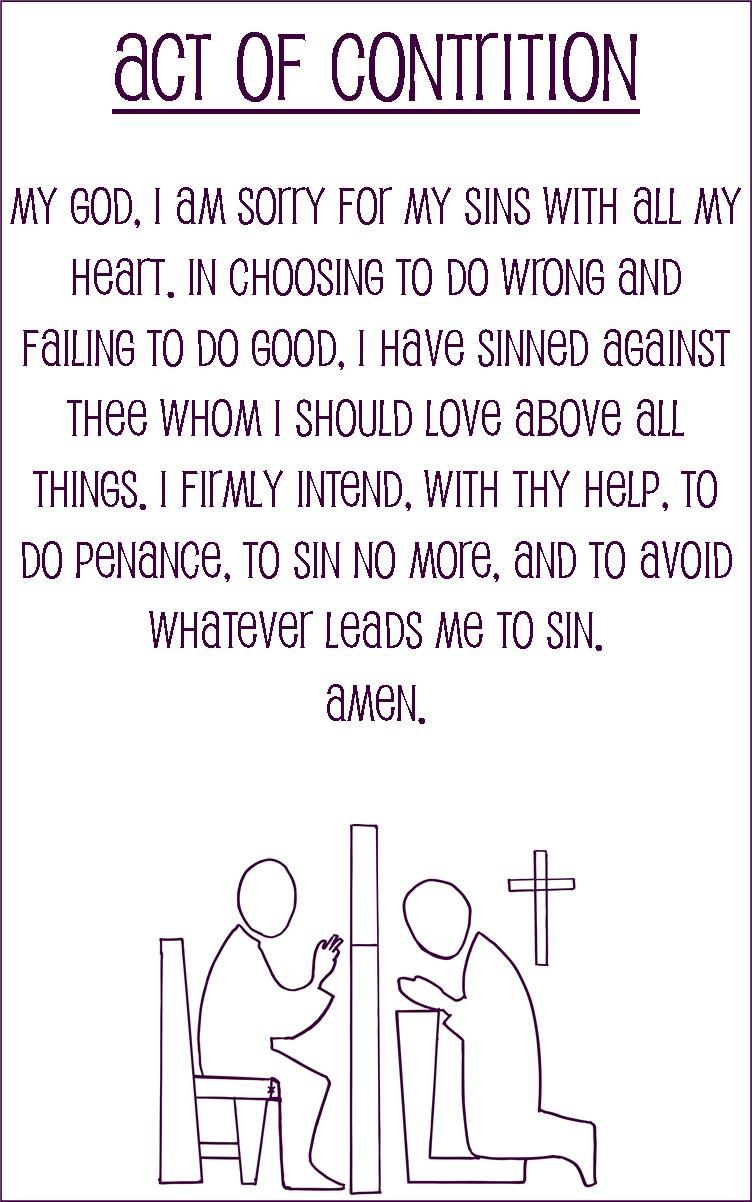 Act of Contrition simplified language prayer card for kids half