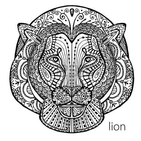 The Black And White Lion Print With Ethnic Patterns Coloring Book For Adults Antistress Art Therapy