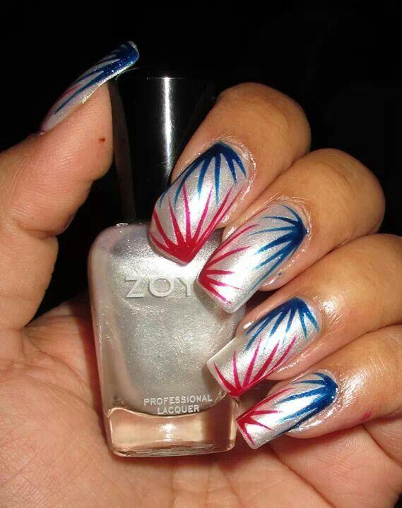 Fourth of july nail art <3