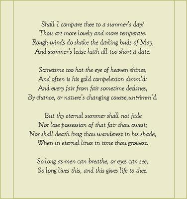 Shakespeare Sonnet 18   My Favorite Books and Poems   Pinterest ...
