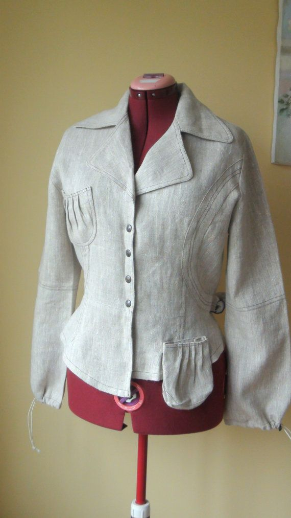 Graceful Linen Jacket  Eco friendly, size XL