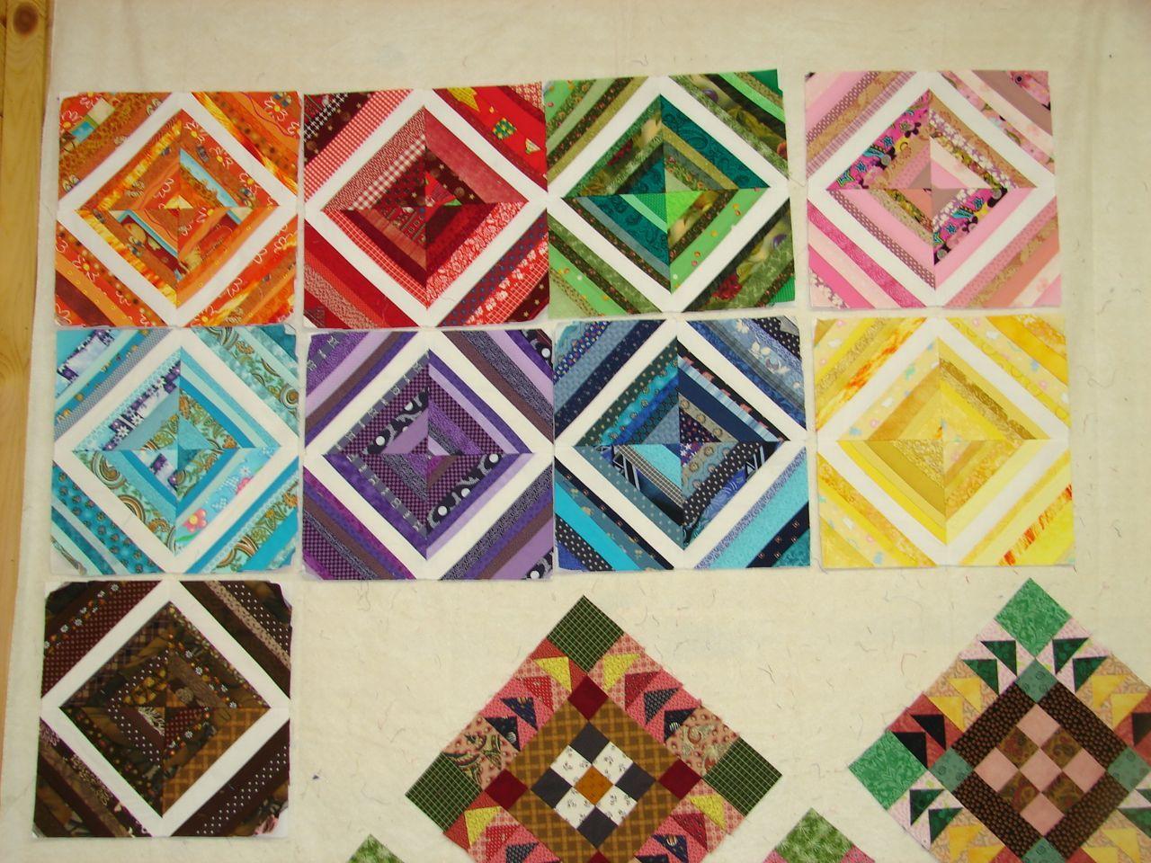 rainbow string quilt blocks