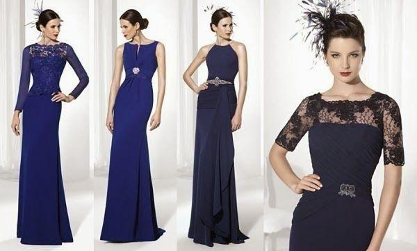 Vestidos 2015 para invitadas de boda azules de Franc Saravia   Modas ...