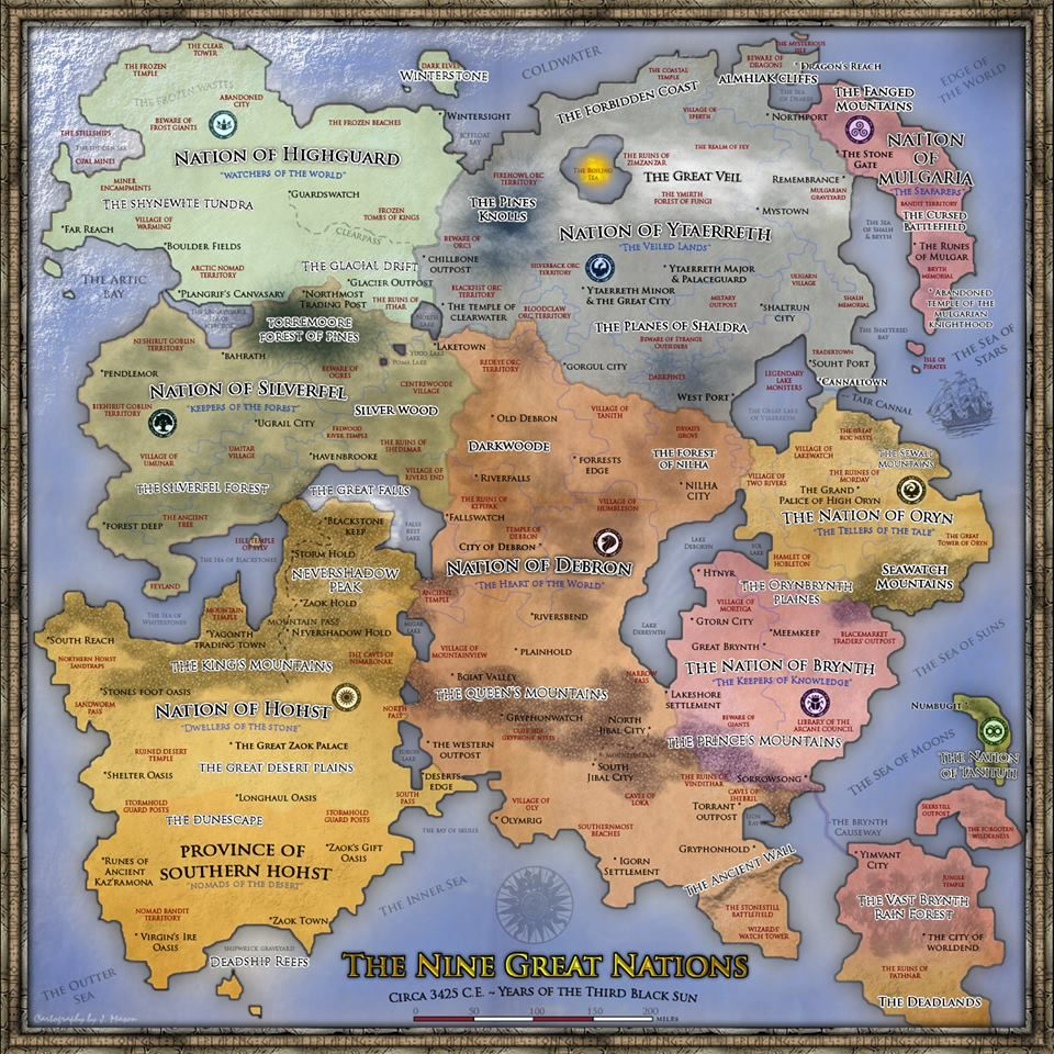 The Nine Great Nations From Beyond The Shattered Gateway Map By