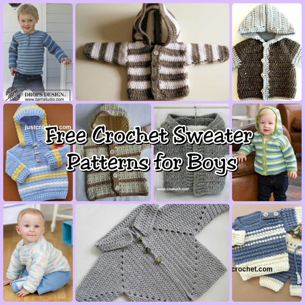 10 free crochet sweater patterns for boys needlework pinterest simplestripedhoodie hasitallthis easycrochetbabysweater alsoinlcudedahoodthis bouncingbabypullover istheperfectbeginners project bankloansurffo Image collections