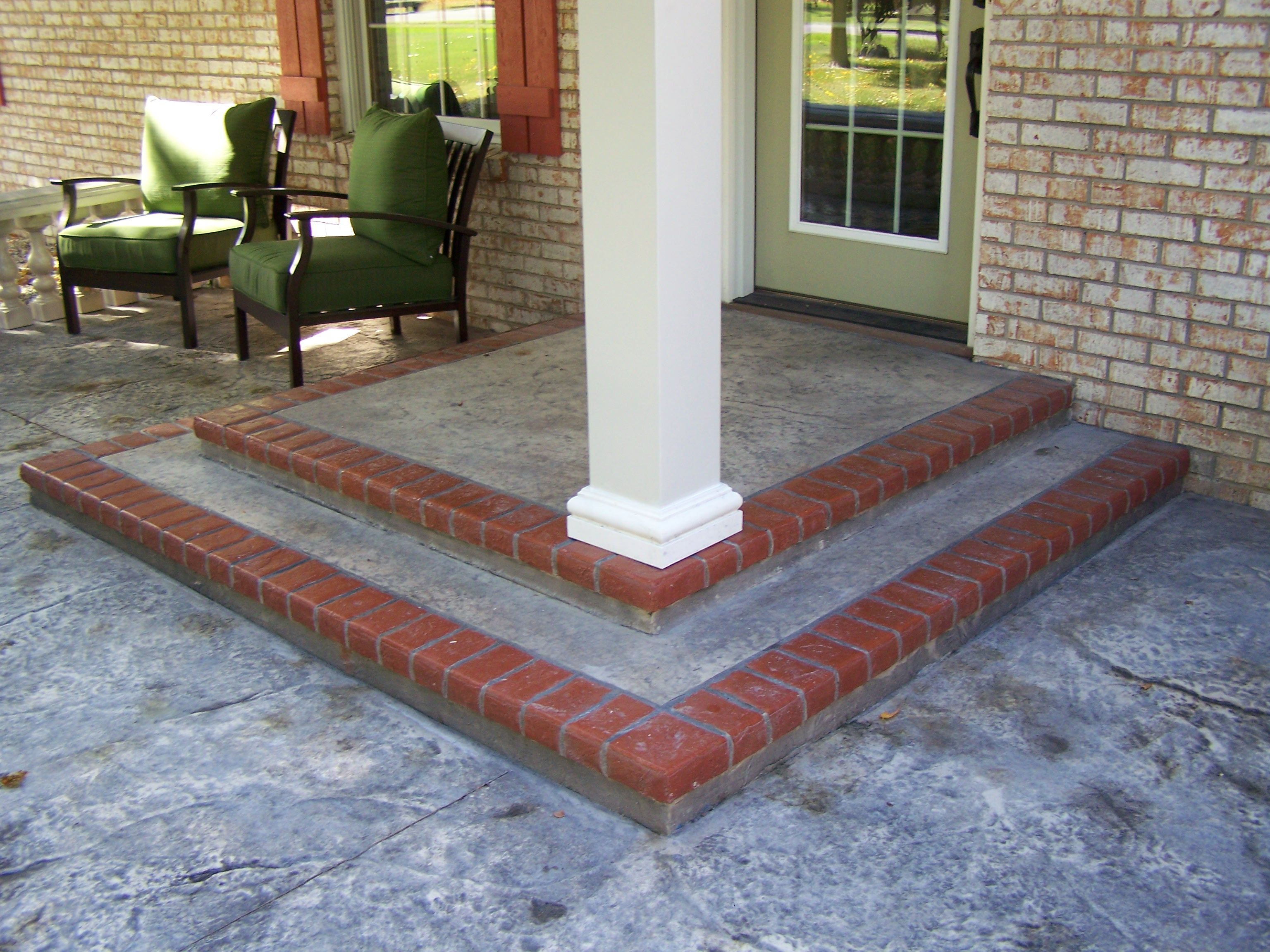 Concrete Front Porch Makeover Baluster Floor Designs Front Porch Makeover Porch Makeover Porch Flooring