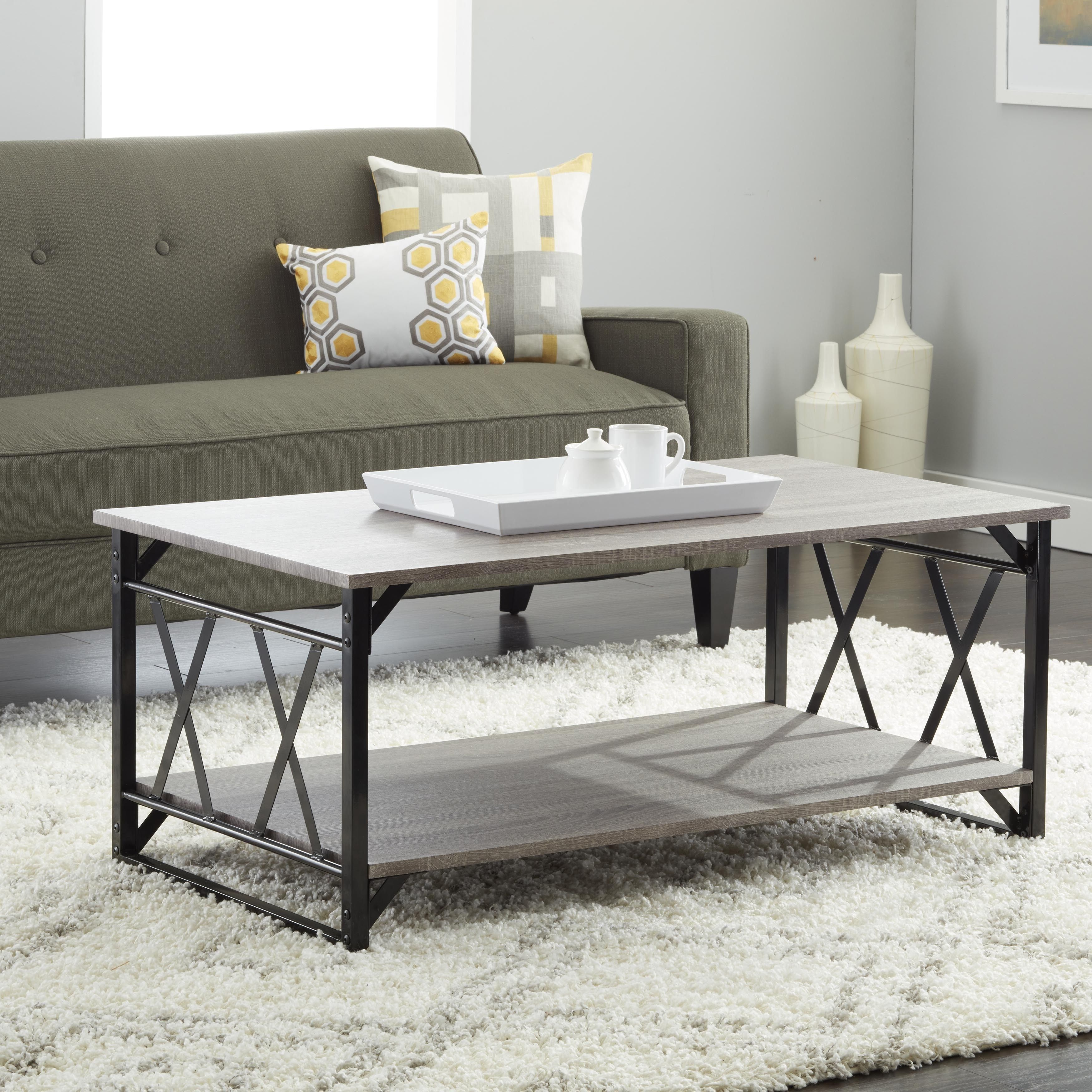 reclaimed style grey coffee table with double 'x' framei love