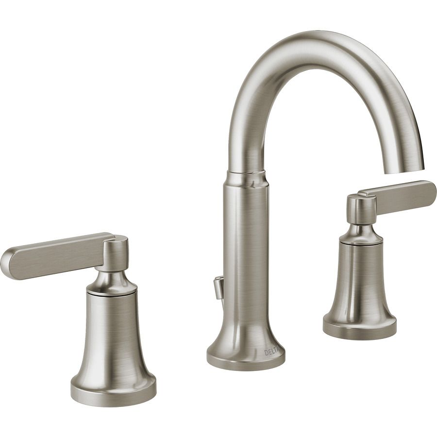 Does Have A Matching Shower Faucet But It Other Bath Fixtures Delta Alux Spotshield Brushed Nickel 2 Handle Widespread Bathroom