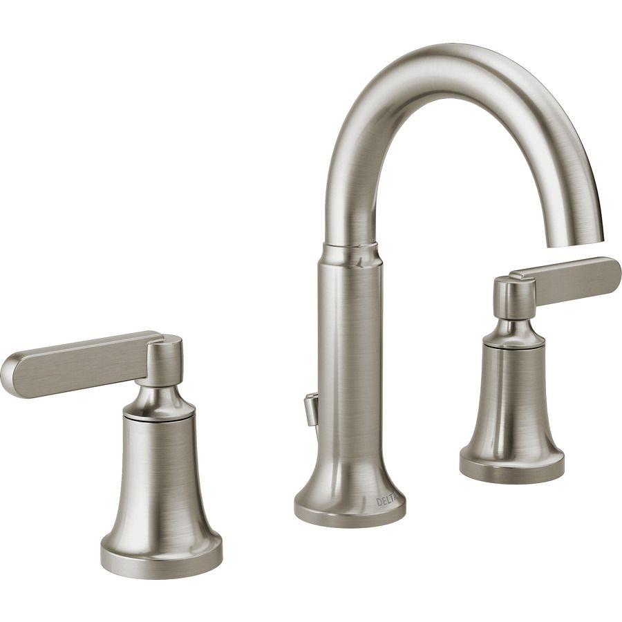 Delta Alux Spotshield Brushed Nickel 2 Handle Widespread Watersense Bathr Widespread Bathroom Faucet Bathroom Sink Faucets Brushed Nickel Bathroom Sink Faucets