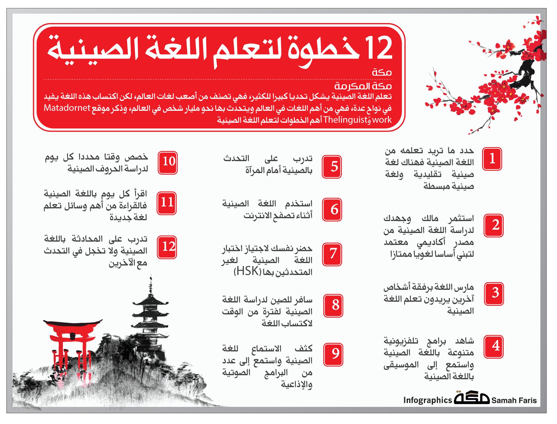 12 خطوة لتعلم اللغة الصينية اللغة الصينية انفوجرافيك صحيفة مكة Aesthetic Art Hints 10 Things