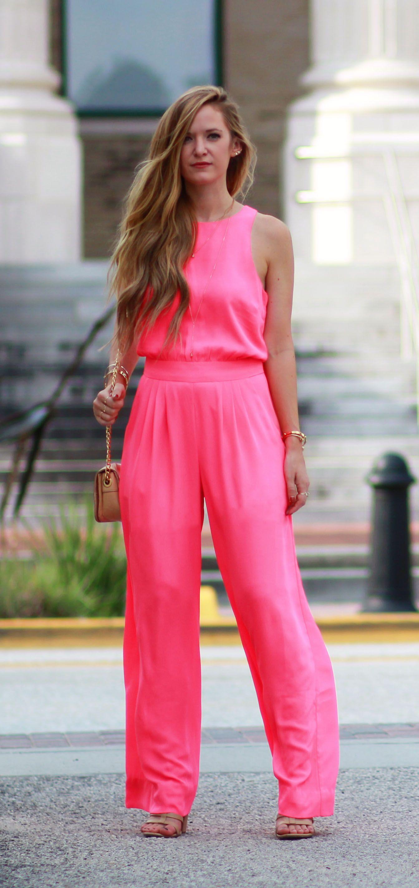 9b1481c18fba Neon pink jumpsuit