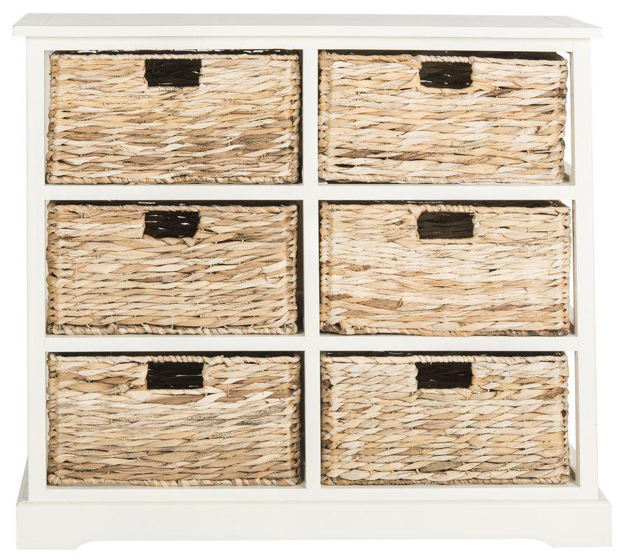 Beachcrest Home Keenan 6 Basket Storage Chest Reviews Wayfair Wicker Baskets Storage Shelf Baskets Storage Storage Baskets