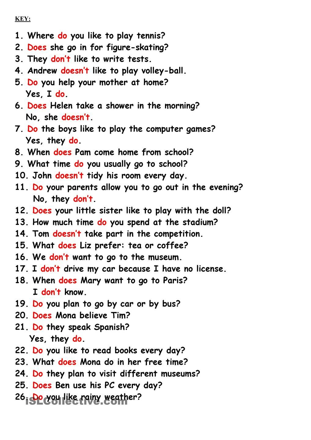 Do, Does, Dont, Doesnt | ESL | Pinterest | Schule