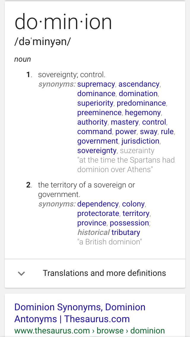 Dominion Dominion Words Nouns