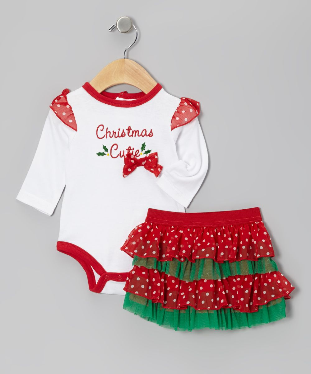 White & Red \'Christmas Cutie\' Bodysuit Set - Infant | Daily deals ...