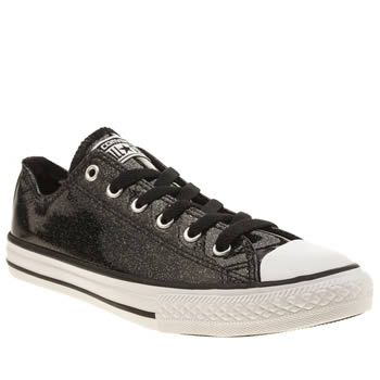 Converse Black All Star Ox Glitter Girls Youth Converse give their classic  profile a black glittery