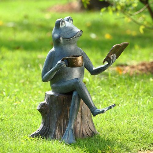 Adorable Whimsical Joy Of Reading Frog Garden Sculpture Statue
