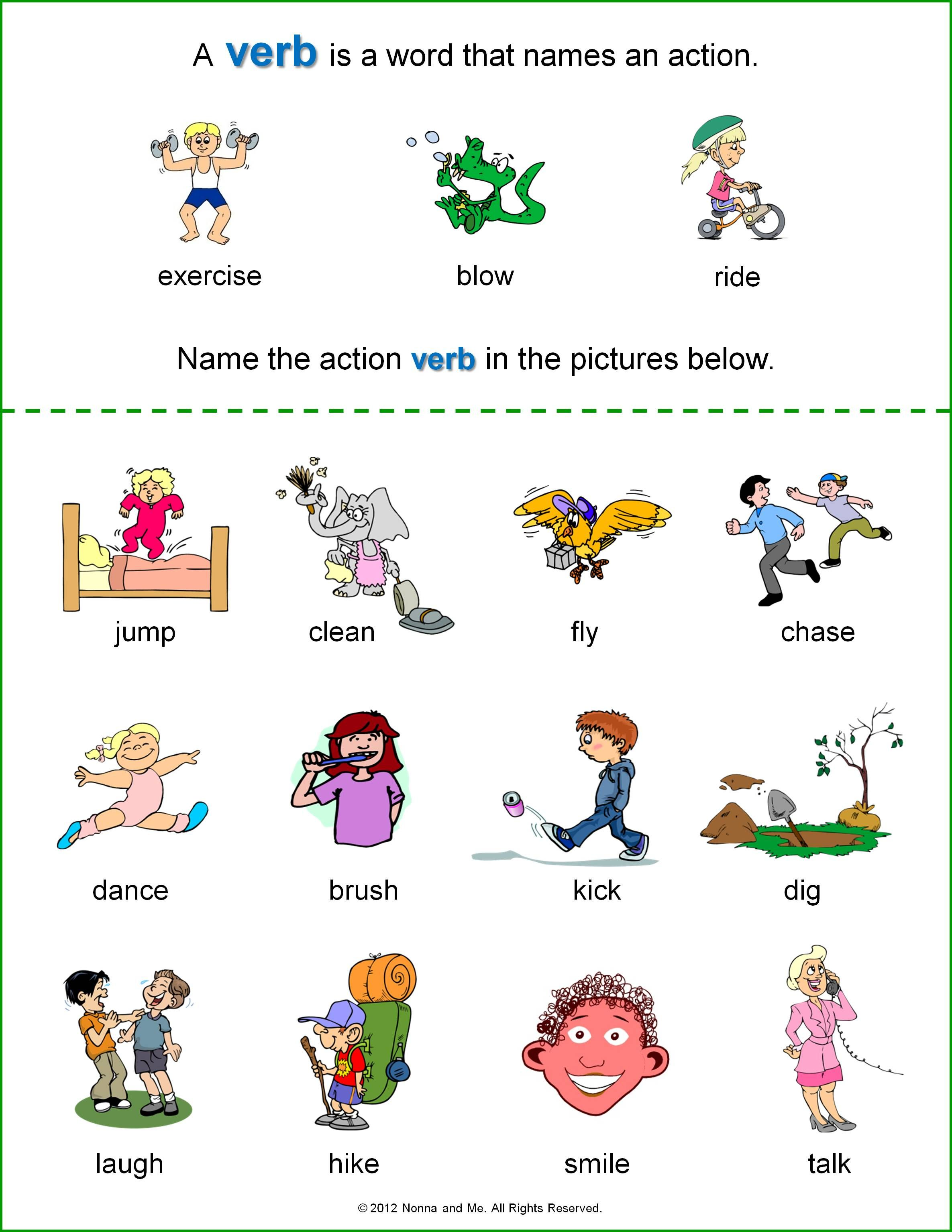 verb worksheets kindergarten Google Search